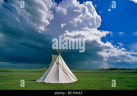 Tipi on the prairie with thunderstorm at Agate Fossil Beds National Monument Sioux County Nebraska BEAN_ALPix 0083 - Stock Photo