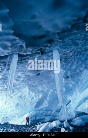 Ice Climber in Ice Cave Chugach NF Alaska SC - Stock Photo
