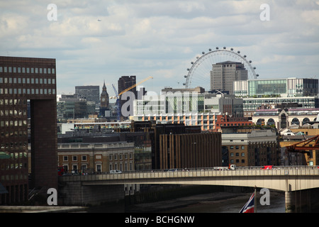 central london view showing cramped and congested nature of urban london - Stock Photo