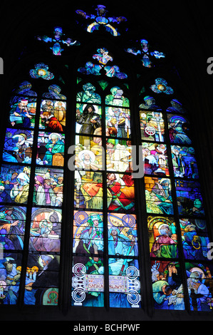 Stained Glass by Alphonse Mucha in St Vitus Cathedral in the Castle in Prague Capital of the Czech Republic - Stock Photo