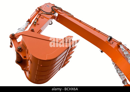 Orange clear excavator bucket beam isolated over white with clipping path. Close up. - Stock Photo