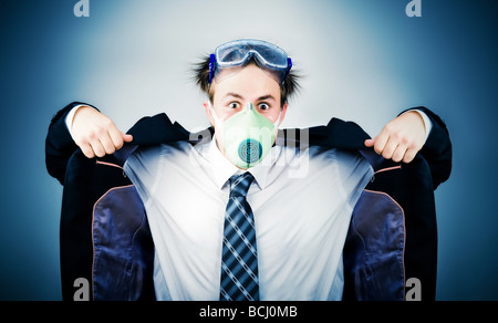 Crazy businessman in protective mask On soft blue background - Stock Photo