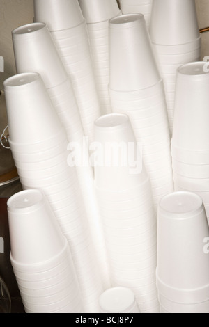 Stack of Styrofoam polystyrene foam white disposible cups - Stock Photo