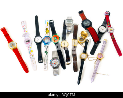Selection Of Watches New & Old - Stock Photo