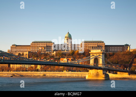Chain Bridge & Royal Palace on Castle Hill, Budapest, Hungary, RF - Stock Photo