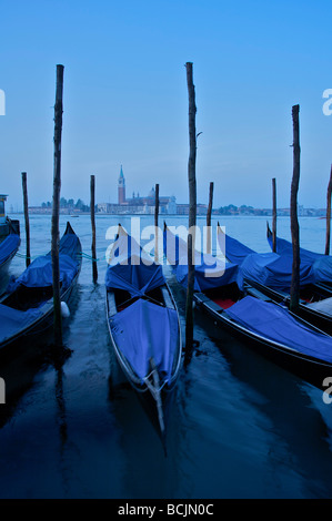 Gondolas on Canale di San Marco with San Giorgio Maggiore church, Venice, Italy - Stock Photo