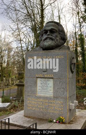 Karl Marx grave, Highgate Cemetery, London, England - Stock Photo