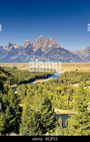 Snake River Overlook and Teton Mountain Range, Grand Teton National Park, Wyoming, USA - Stock Photo