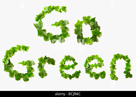 Go green written with leaves - Stock Photo