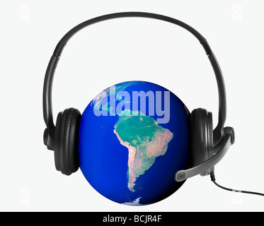 Planet earth wearing a telephone headset - Stock Photo