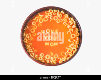 Love you mom in spaghetti letters - Stock Photo
