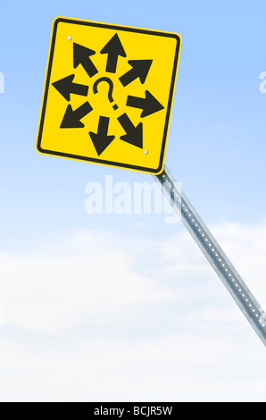 Sign with arrows and question mark - Stock Photo