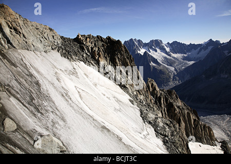 Mountains and glacier near mont blanc - Stock Photo