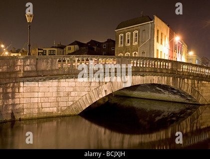 Parliament street bridge and lee river cork - Stock Photo