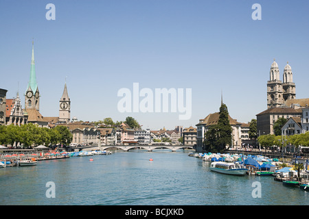 The river limmat in zurich - Stock Photo