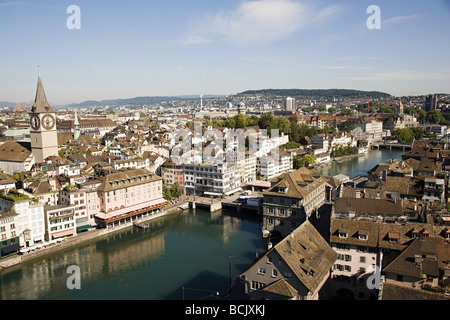 Elevated view of zurich - Stock Photo