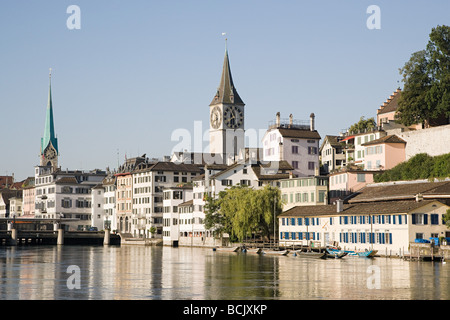 Architecture and the river limmat in zurich - Stock Photo