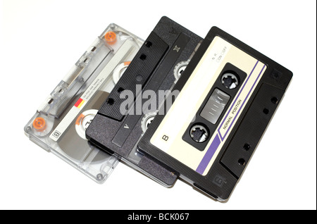 old audio tapes on white background - Stock Photo
