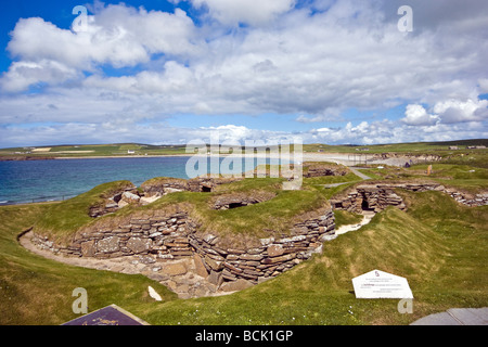 The neolithic village of Skara Brae on Orkney mainland Scotland with ten stone age houses dating from around 3000 - Stock Photo