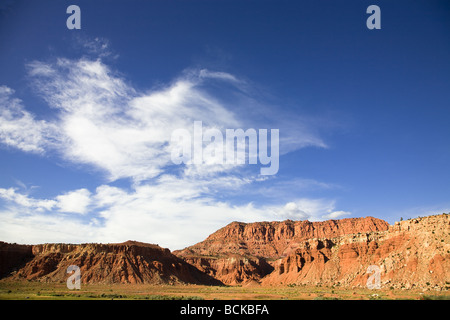Red rock formations in Utah along Highway 24 Utah USA - Stock Photo