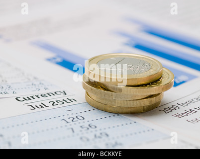 Euro coins and paper - Stock Photo