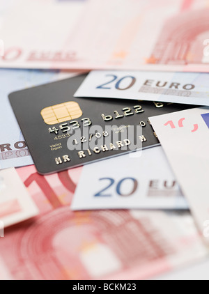 Credit card and euro banknotes - Stock Photo