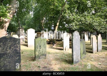 Bunhill Fields burial ground, London - Stock Photo
