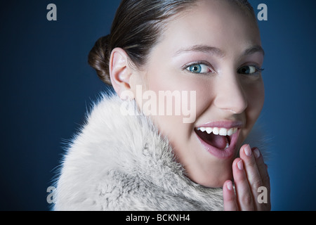 Girl with fur scarf - Stock Photo