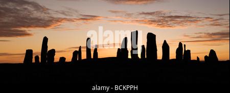 Callanish Stone Circle, Sunset at Summer Solstice, Isle of Lewis, Outer Hebrides, Scotland - Stock Photo