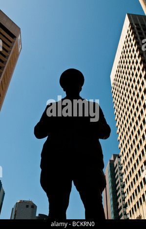Statue of a military man at the Post Office Square Brisbane Queensland Australia - Stock Photo