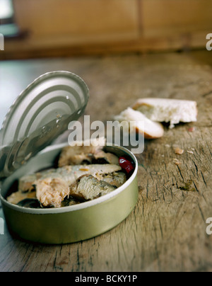 Open can of food and breadcrusts on table, close-up - Stock Photo