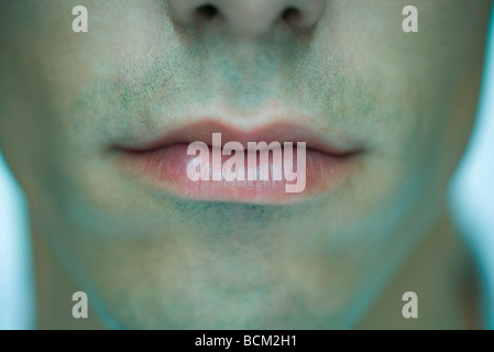 Man's lips, close-up - Stock Photo