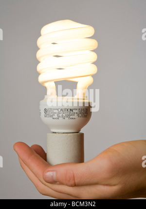 Hand holding a new Energy efficient Compact fluorescent lightbulb - Stock Photo