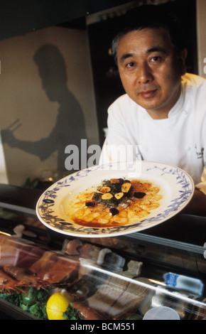 Chef Nobu Matsuhisa at Nobu restaurant in Los Angeles California - Stock Photo
