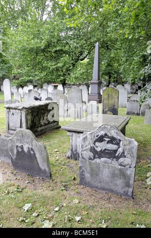 Gravestones Bunhill Fields Burial Ground Islington London England UK - Stock Photo