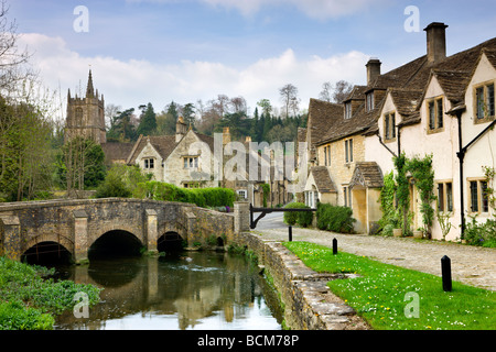 Picturesque Cotswolds village of Castle Combe Wiltshire England Spring April 2009 - Stock Photo