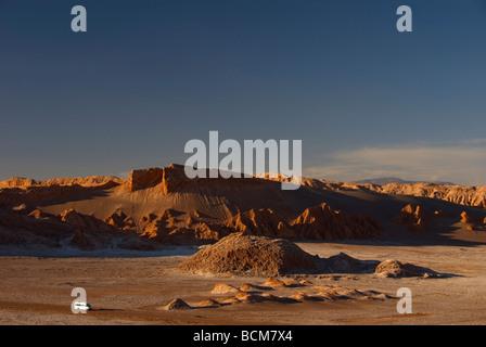 rock formations in Valle de la Luna Moon valley in Atacama Chile - Stock Photo
