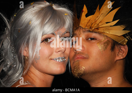 acting couple posing backstage after performance - Stock Photo
