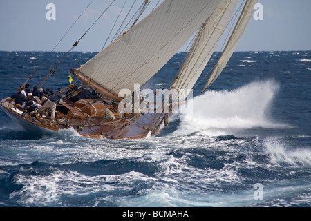 crew on the roof of an old sailboat - Stock Photo