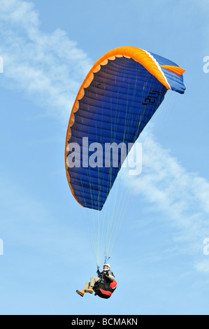 Paraglider 2008 Chateau d Oex Hot Air Balloon Festival Switzerland Europe - Stock Photo
