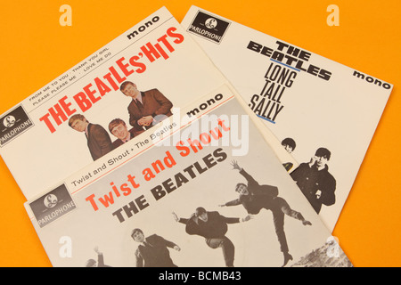 The Beatles pop group early EP singles covers including Twist and Shout - Stock Photo