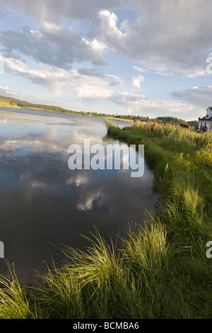 view of Lake Hatcher in Pagosa Springs, Colorado, USA at sunset - Stock Photo