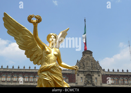 Angel Of Independence statue in front of The National Palace in Mexico City - Stock Photo