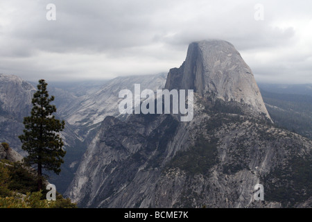 View from Glacier Point to Yosemite National Park and Waterfalls Bridal veil Glacier Point Half Dome - Stock Photo