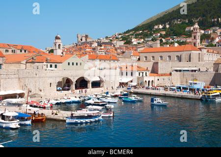 Old town harbour - Dubrovnik - Croatia - Stock Photo