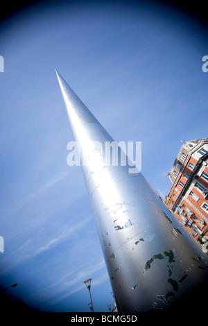 looking up the Millennium spire Dublin Ireland - Stock Photo
