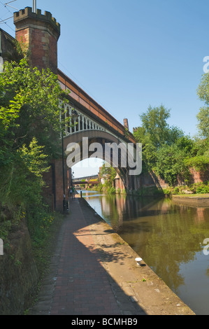 Manchester South Junction and Altrincham Railway Rochdale Canal Bridge looking towards Castlefield and Dukes Lock - Stock Photo