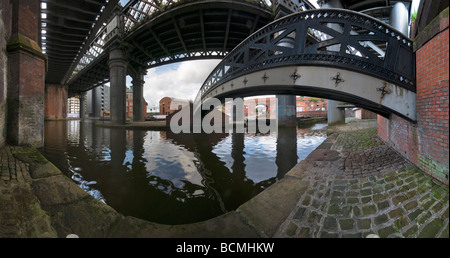 Victorian railway viaducts and bridges in the Castlefield basin Manchester - Stock Photo