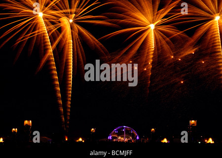 Berlin Fireworks during the Pyromusikale at the closed airport Berlin Tempelhof EU DE DEU FRG Federal Republic of - Stock Photo