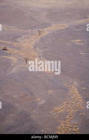 Sunrise in the Sossusvlei sand dunes in the Namib desert Namibia Africa - Stock Photo